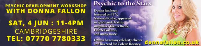 Psychic development workshop with psychic to the stars Donna Fallon