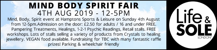 Mind Body Spirit Fair 4th August 2019 £2.50 entrance for charity to pay on...
