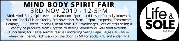 Mind Body Spirit Fair 3rd Nov 2019 £2.50 Entrance Fee to pay