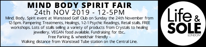 Mind Body Spirit Fair 24th Nov 2019 £2.50 Entrance pay on day