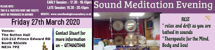 Gong Bath (Sound Meditation Evening) - SOUTH SHIELDS, LATE SESSION